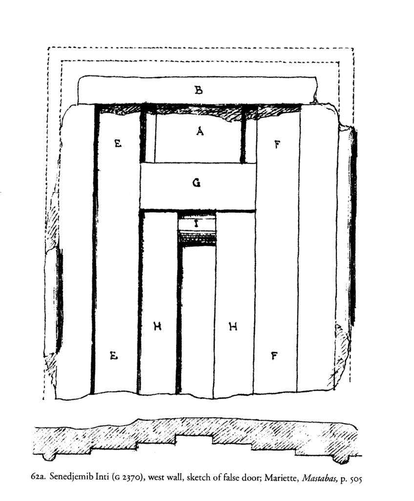 Drawings: G 2370, Elevation and plan of W wall, false door