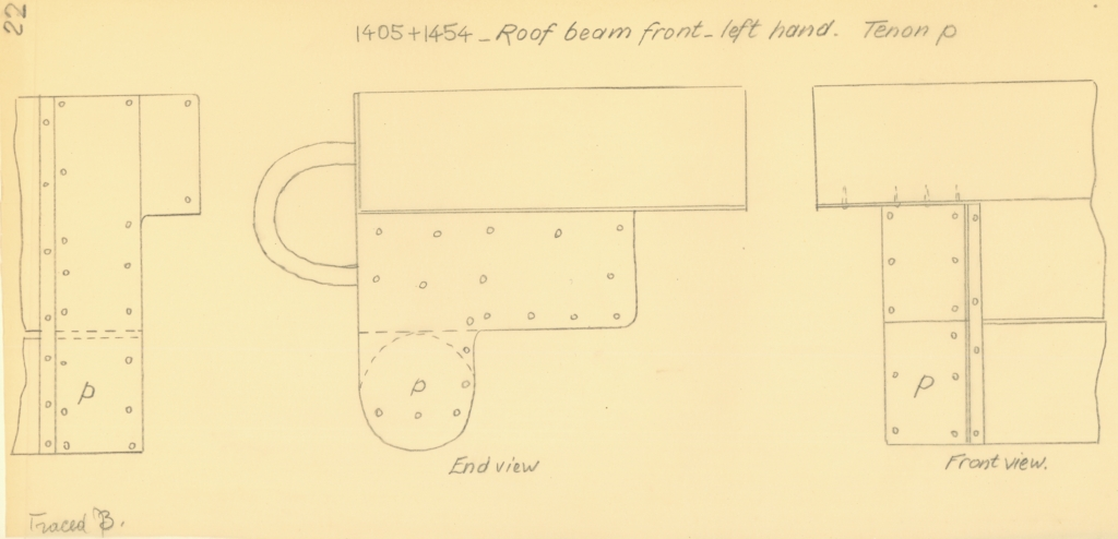 Drawings: G 7000 X: bed tenon from roof beam, front, left