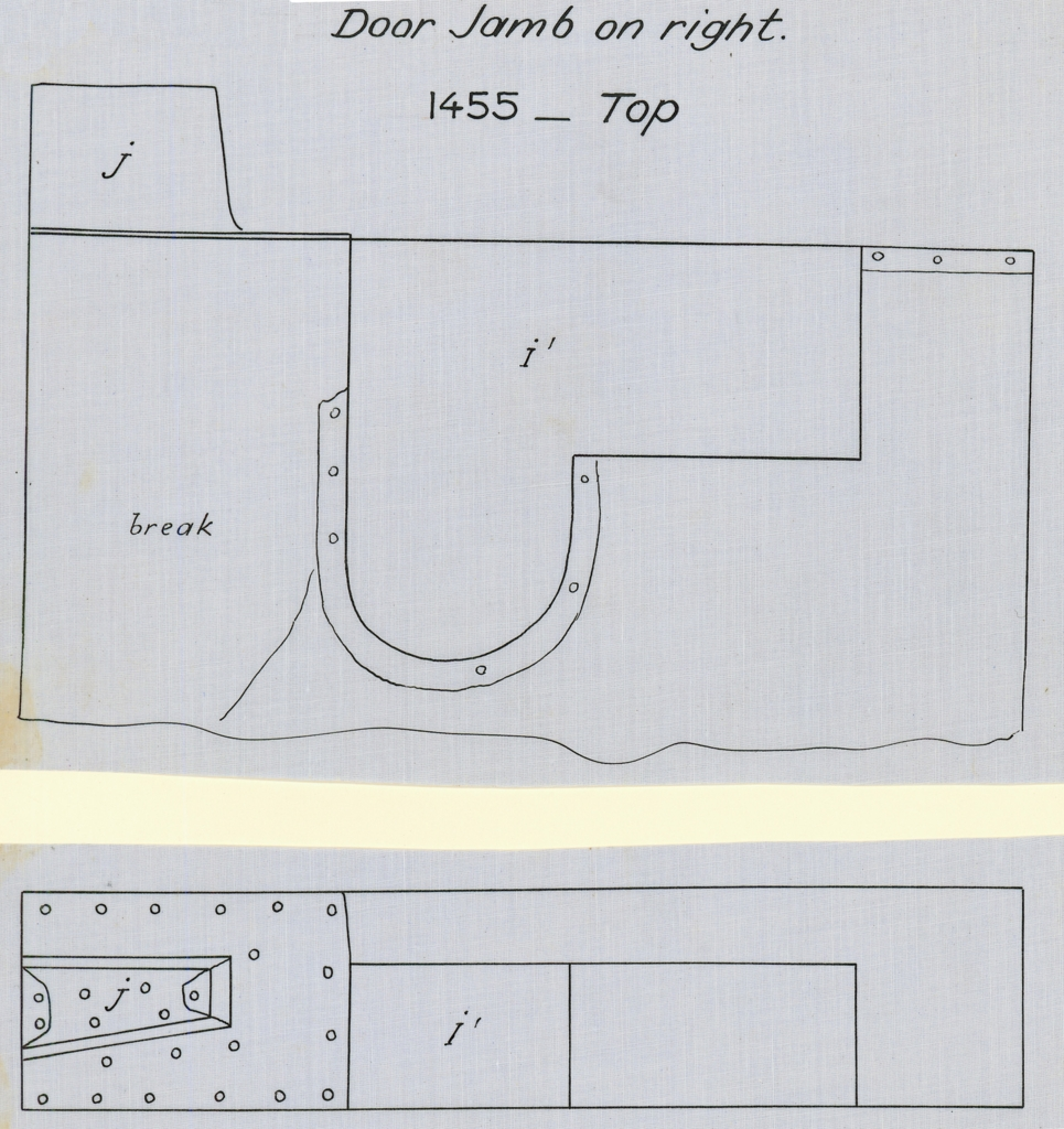 Drawings: G 7000 X: bed canopy, fittings from door jamb on beam, right, top
