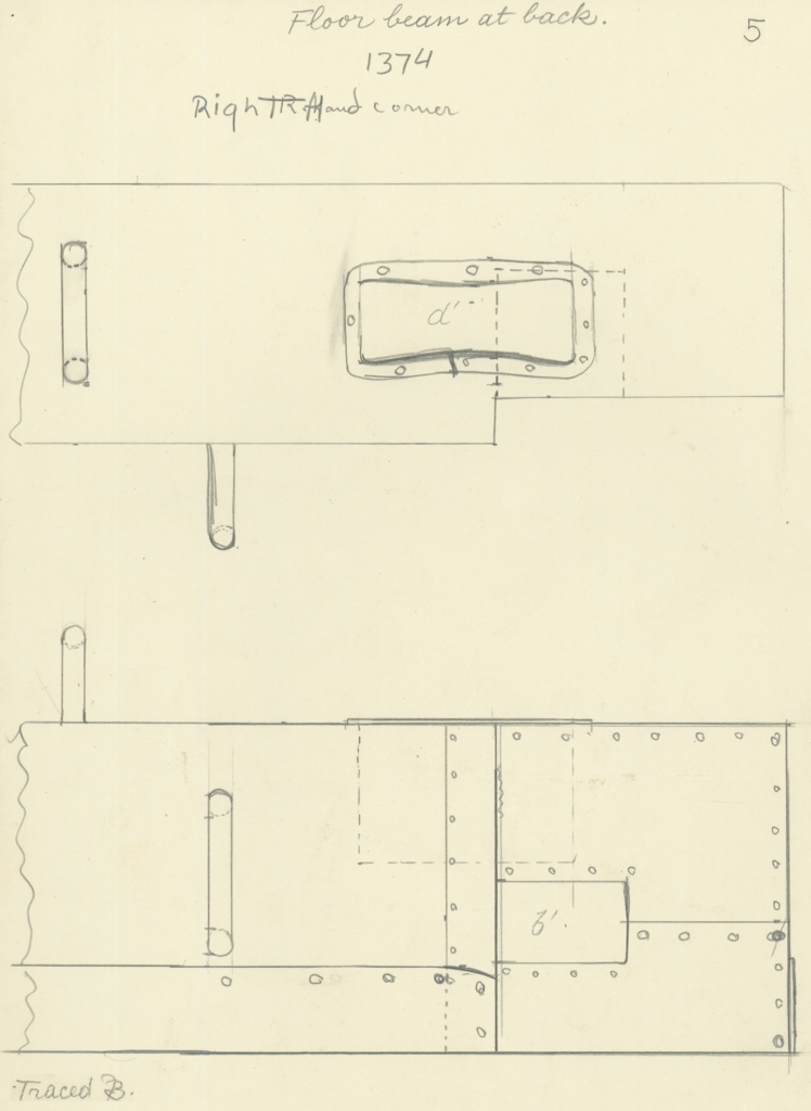 Drawings: G 7000 X: bed canopy, fittings from floor beam, back, right corner