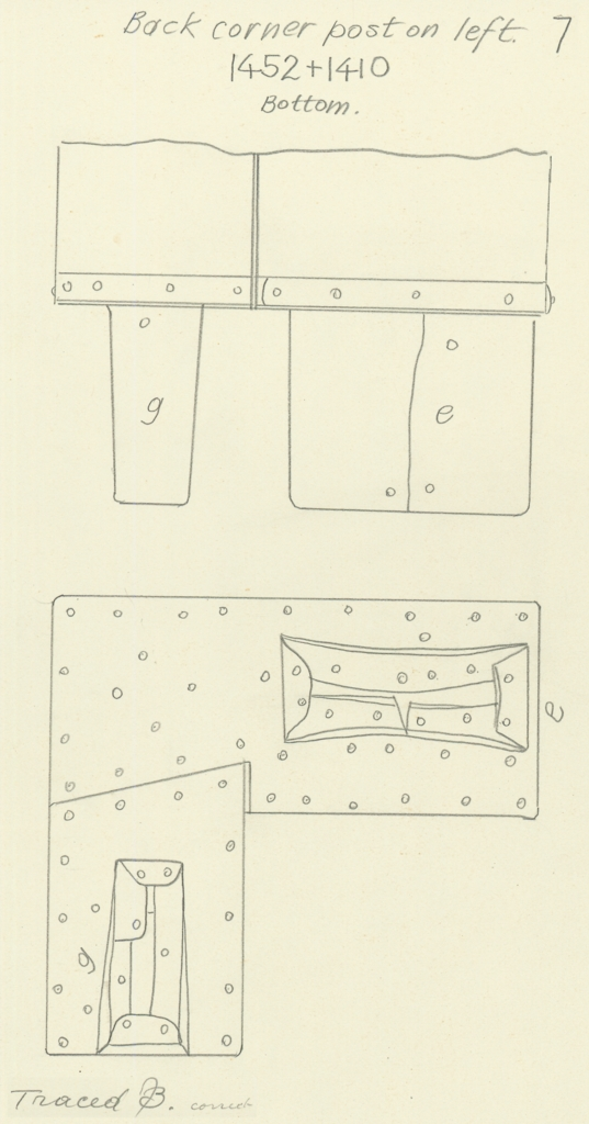 Drawings: G 7000 X: bed canopy, fittings from  corner post,0 back, left