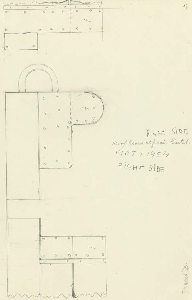 Drawings: G 7000 X: bed canopy, fittings room beam, front, lintel, right side