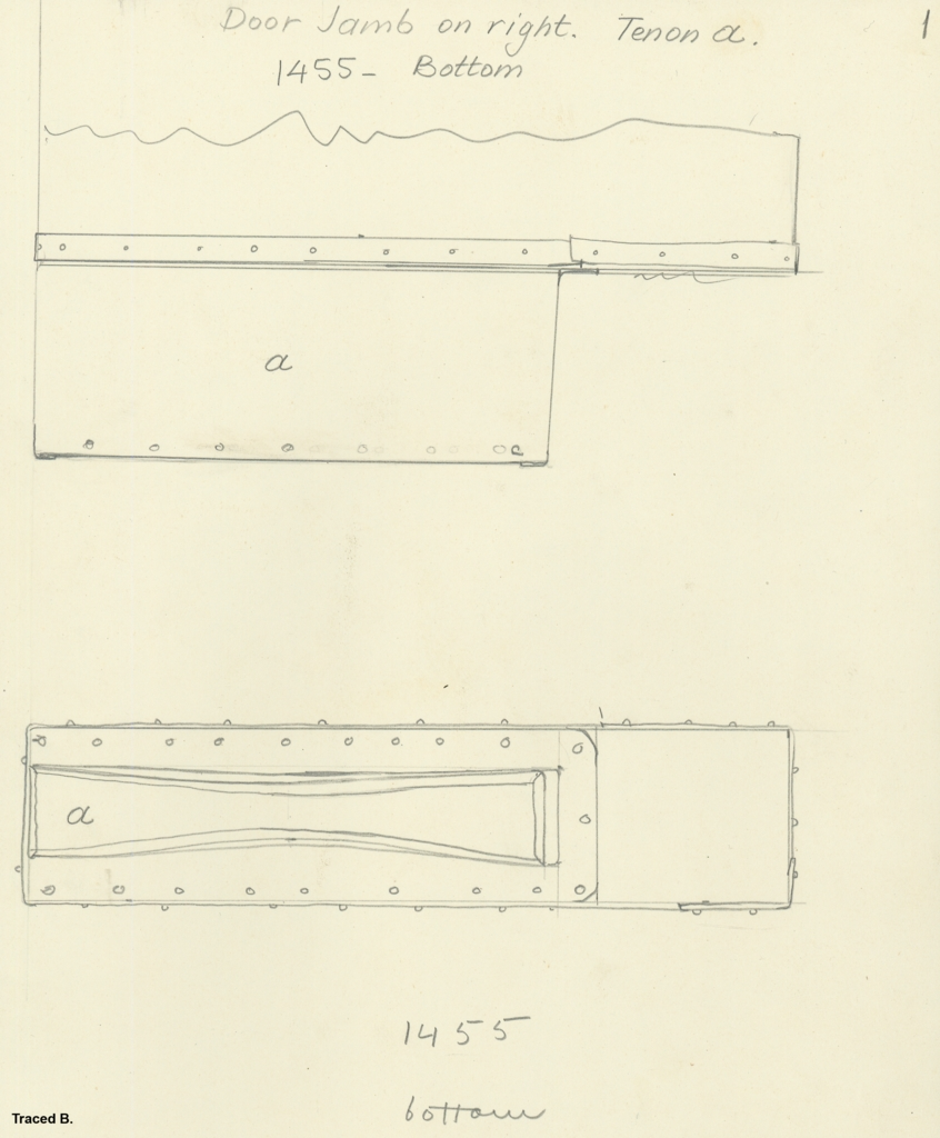 Drawings: G 7000 X: bed canopy, tenon from door jamb, right, bottom