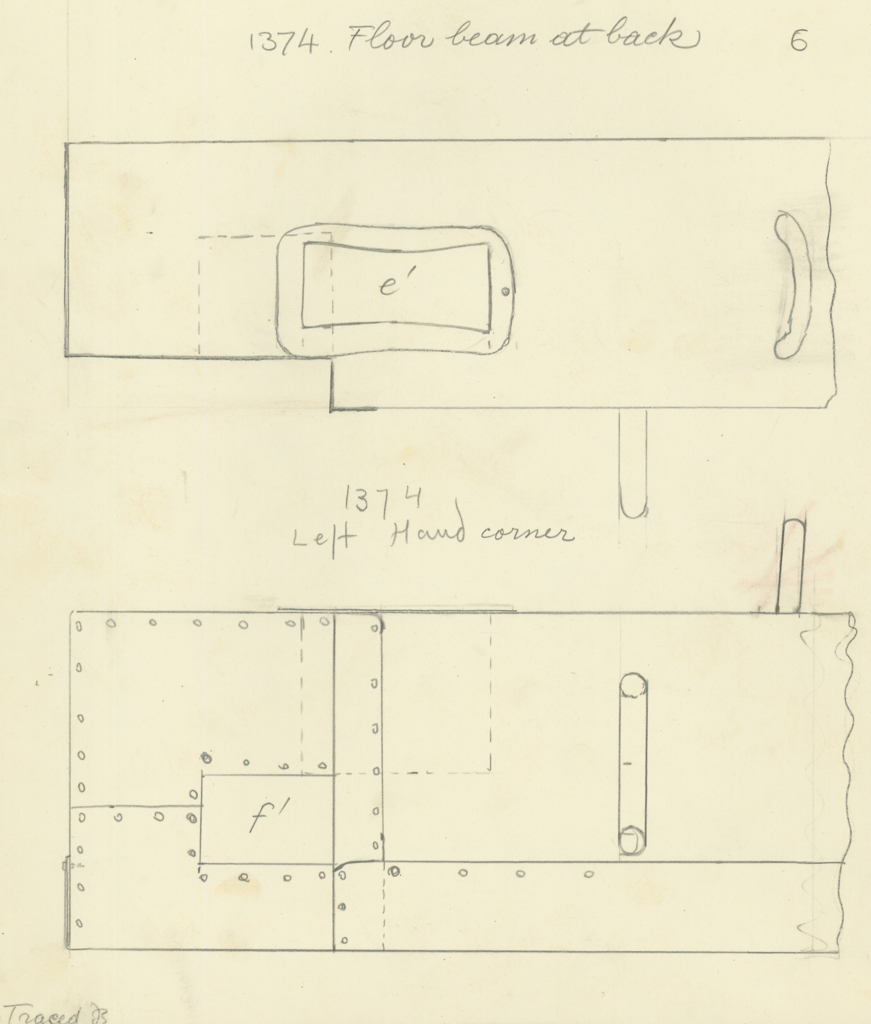 Drawings: G 7000 X: bed canopy, copper fittings from floor beam, back, left corner