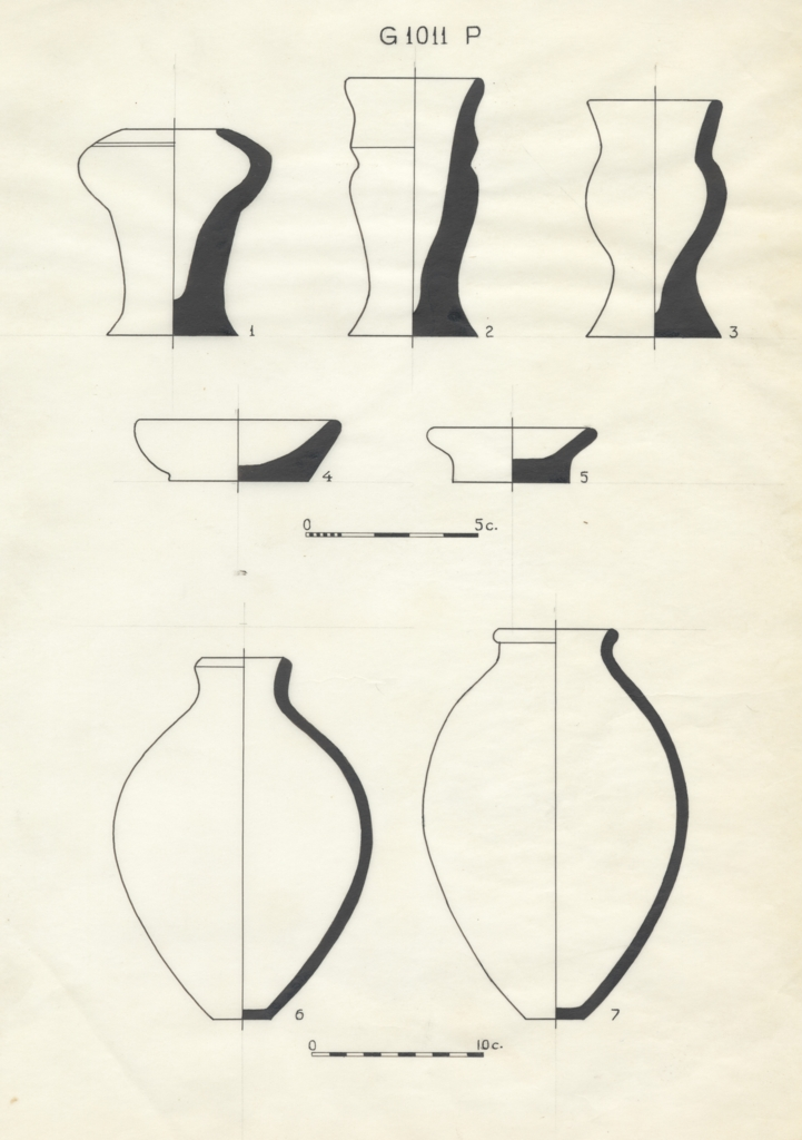 Drawings: G 1011, Shaft P: pottery