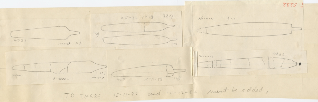 Drawings: Tools, bronze and copper, from G 4520, G 4610, G 4733, G 5232, G 7211, G 7940