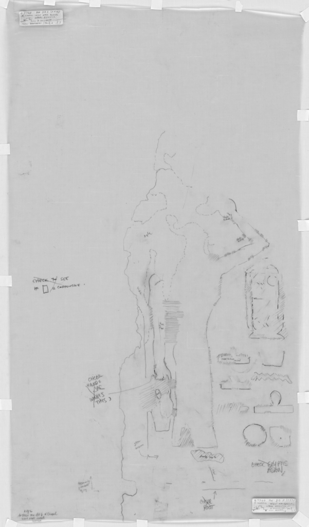 Drawings: G 7760: relief from S chapel, W wall, reveal