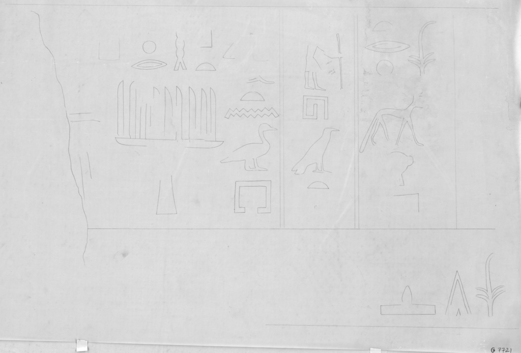 Drawings: G 7721: relief from W wall, S false door, tablet