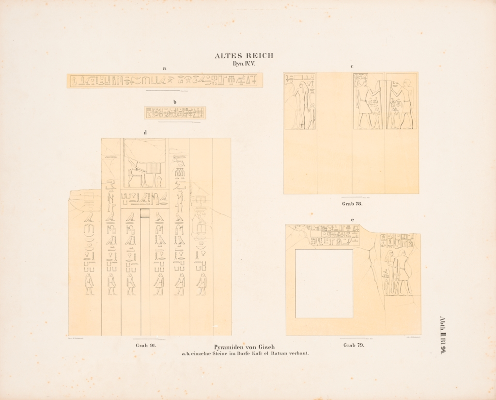 Drawings: Drawing of relief from W walls from G 8091 and Lepsius 79