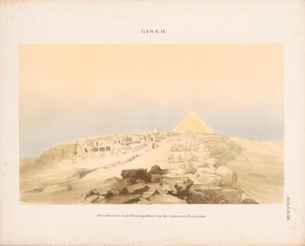 Drawings: View of Khufu Causeway and Eastern Cemetery, looking W