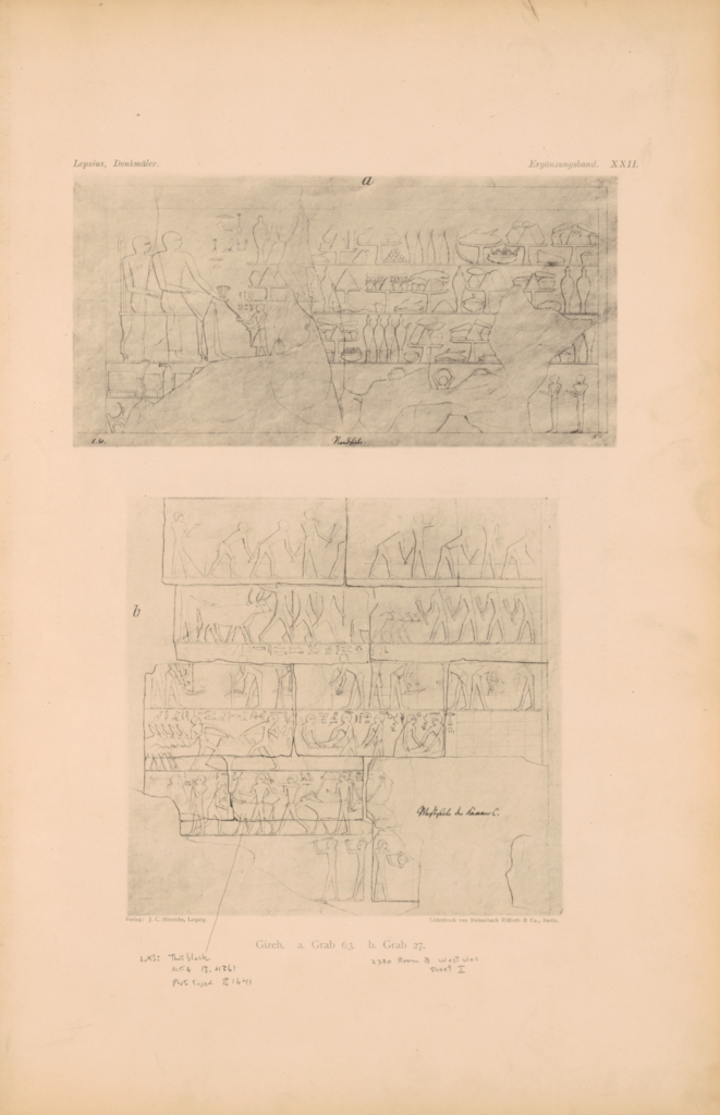 Drawings: Relief from Lepsius 63, N wall, and G 2370, Room III, W wall