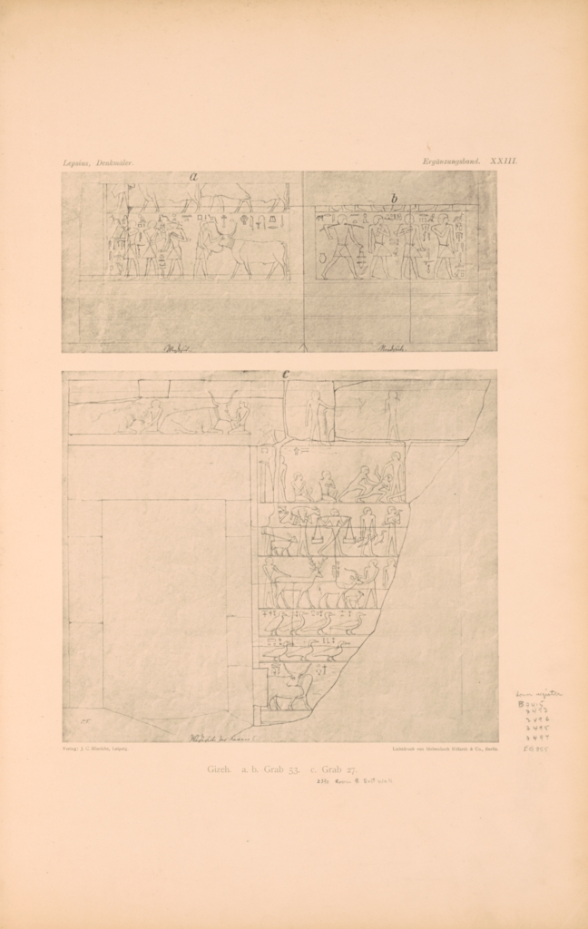 Drawings: Relief from Lepsius 53 and G 2370, room III, E wall