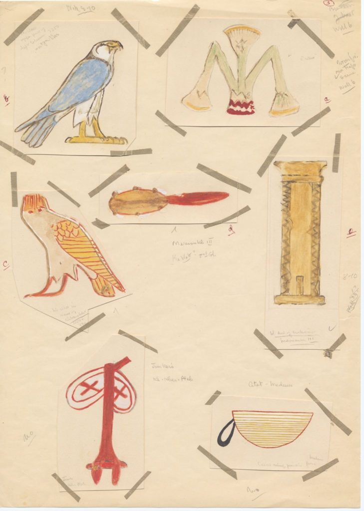 Drawings: Hieroglyphs from G 5560 and G 7530-7540 (modern painting)