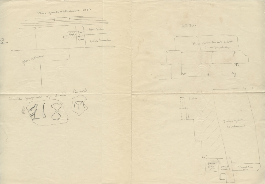 Maps and plans: G 2120: Sketch plan and section of niche emplacement, and fragments of granite