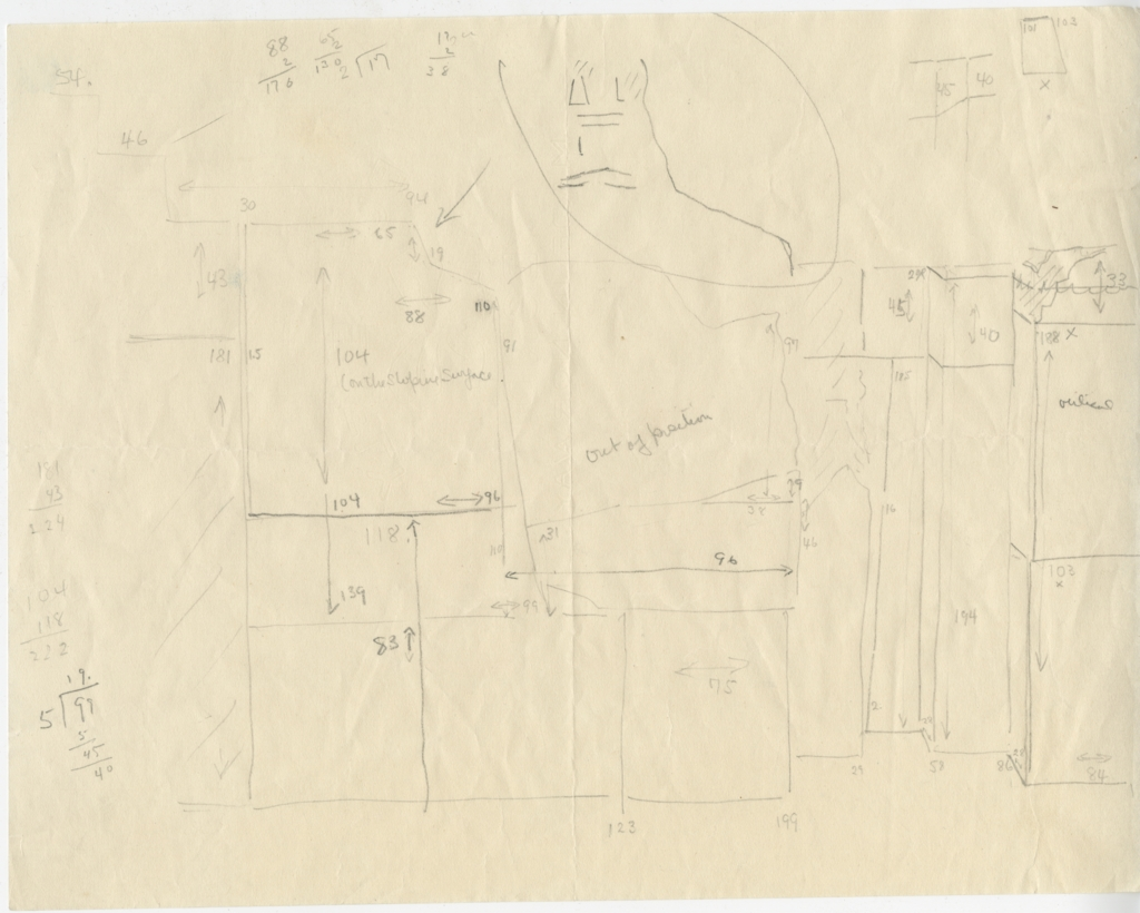 Maps and plans: G 2110: Sketch plan of chapel, W wall