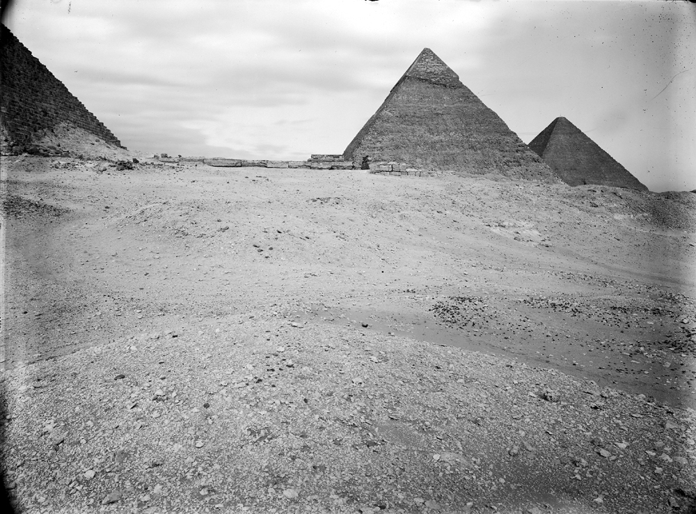 Menkaure Pyramid Complex: Site: Giza; View: Khafre Pyramid, Khufu Pyramid, Menkaure pyramid temple