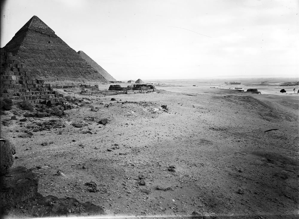 Menkaure Pyramid Complex: Site: Giza; View: Khafre Pyramid, Menkaure pyramid temple