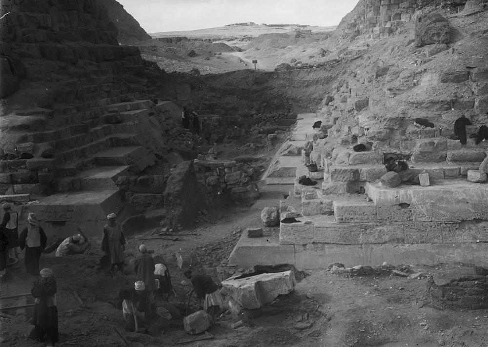 Khufu Pyramid Complex: Site: Giza; View: avenue G 3, street G 7000, G I-b, G I-c