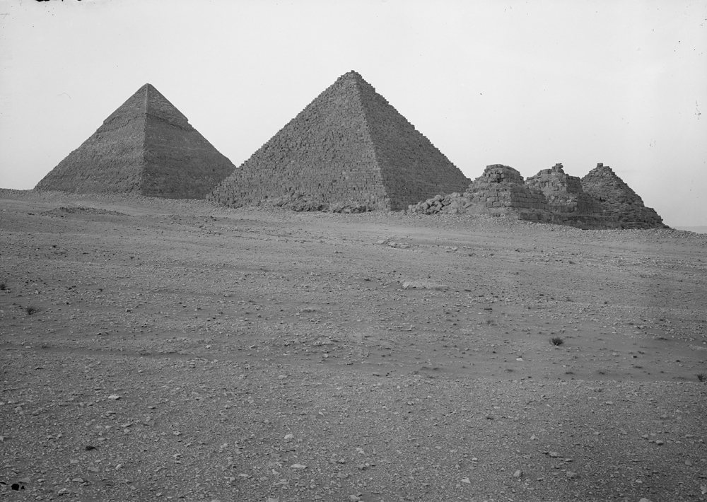 General view: Site: Giza; View: Giza, Khafre pyramid, Menkaure pyramid