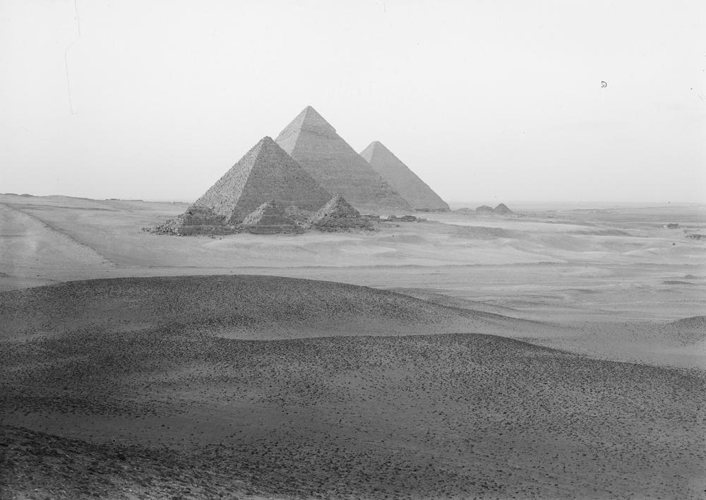 General view: Site: Giza; View: Menkaure pyramid, Khafre pyramid, Khufu pyramid