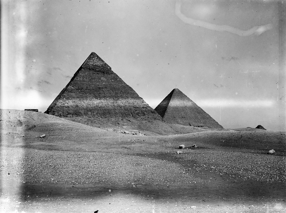 General view: Site: Giza; View: Giza, Khafre pyramid, Khufu pyramid