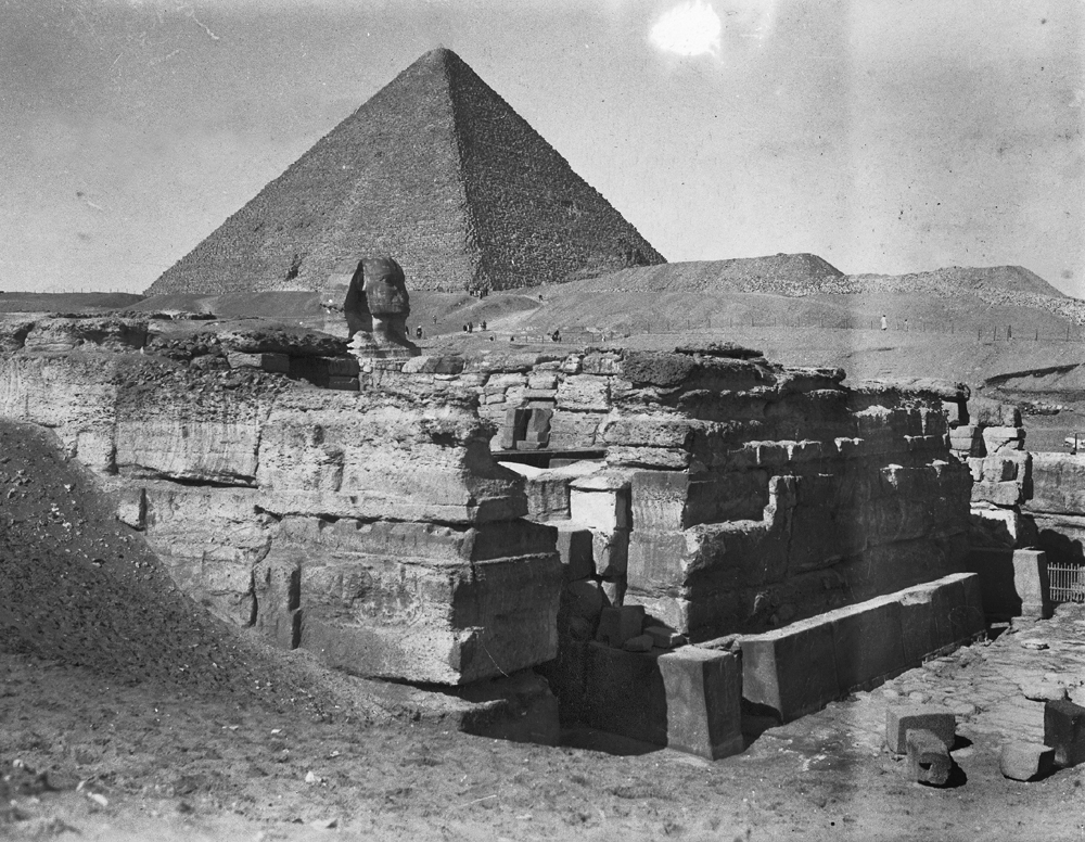Khafre Pyramid Complex: Site: Giza; View: Khafre valley temple, Sphinx