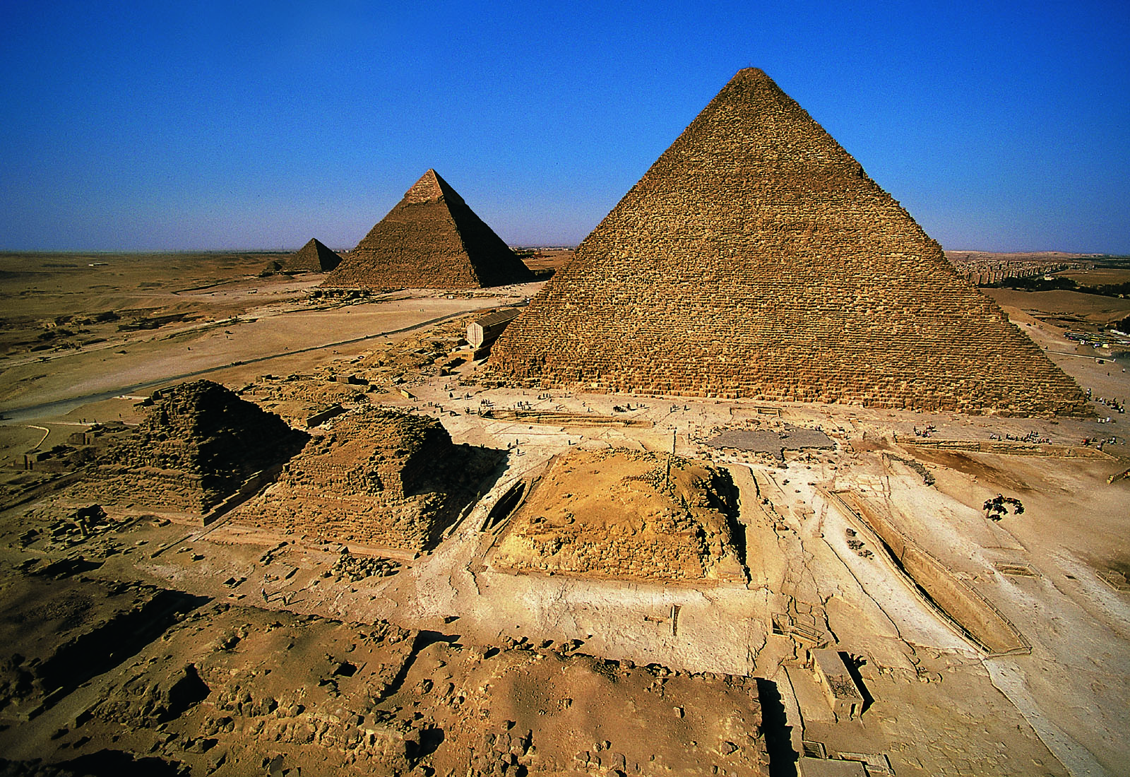 General view: Site: Giza; View: Khufu pyramid, G I-a, G I-b, G I-c