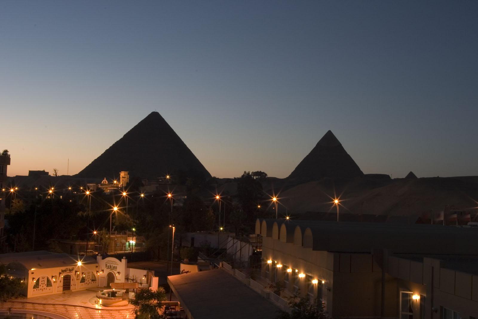 General view/misc.: Site: Giza; View: Khufu pyramid, Khafre pyramid