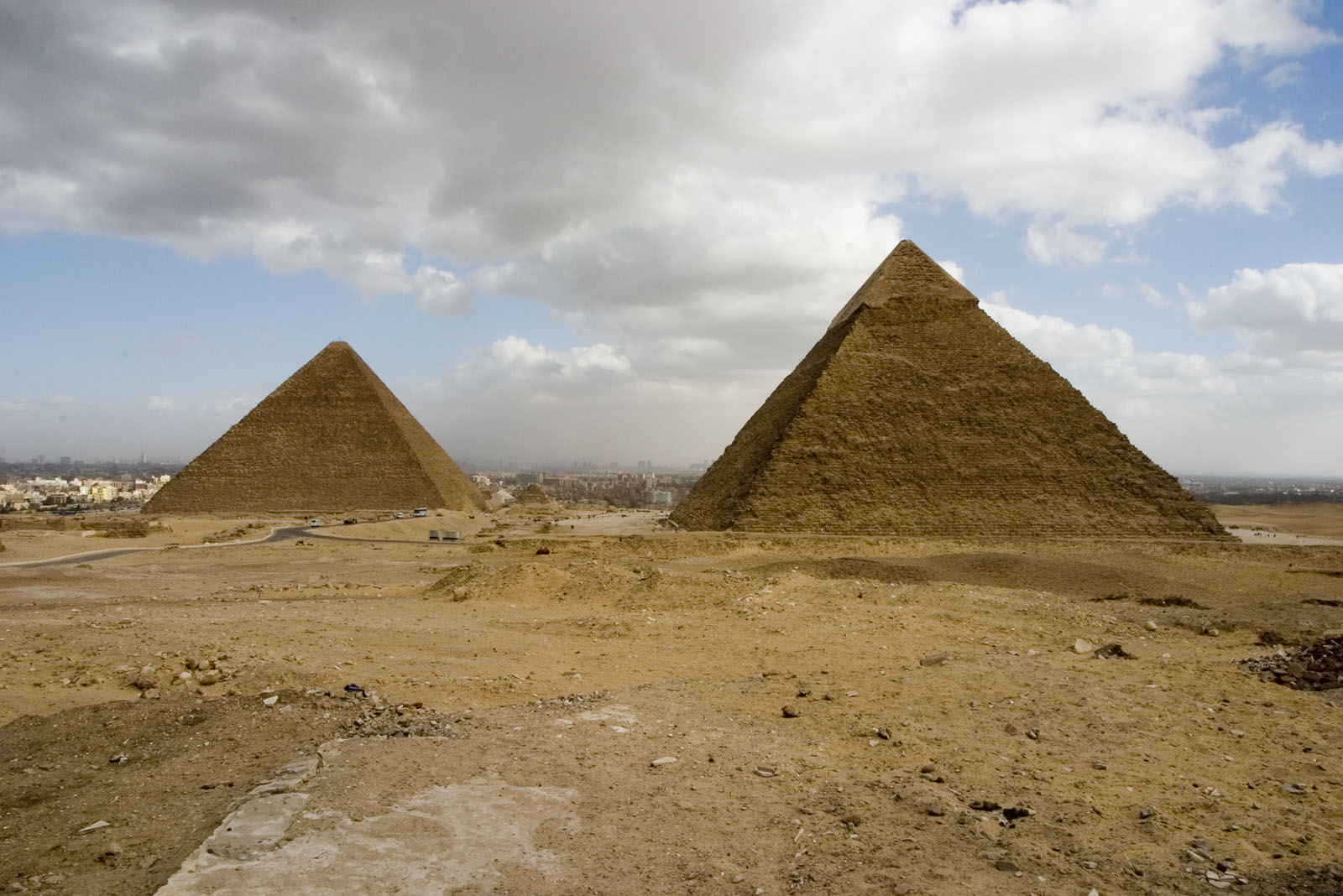 Western Cemetery: Site: Giza; View: Khufu pyramid, Khafre pyramid, Harvard Camp