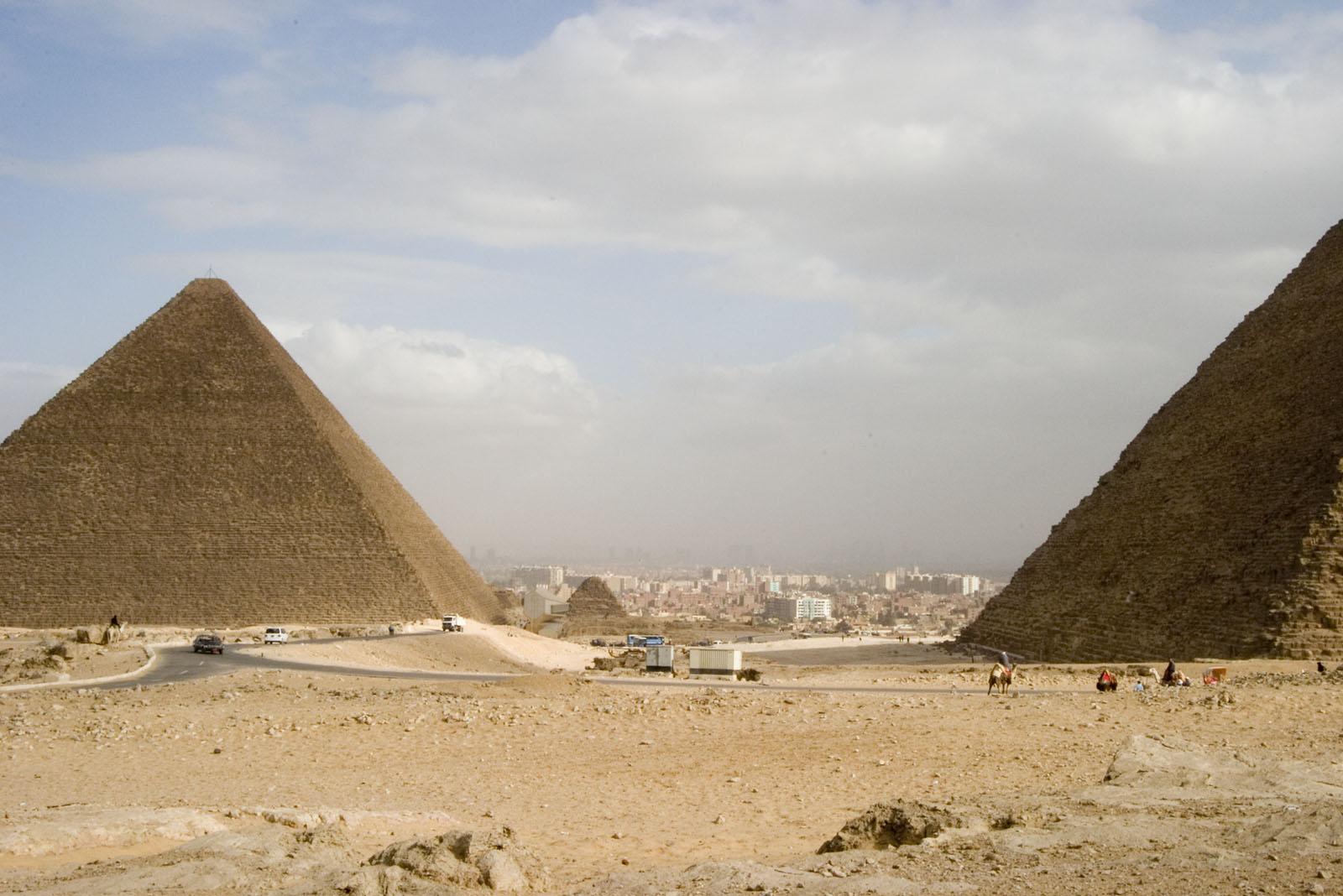 Western Cemetery: Site: Giza; View: Khufu pyramid, Khafre pyramid