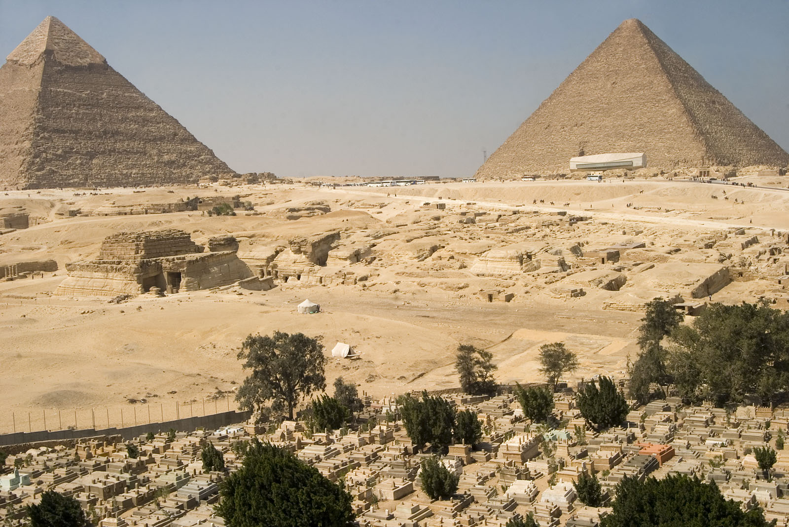 General view: Site: Giza; View: G 8400, Khufu pyramid, Khafre pyramid