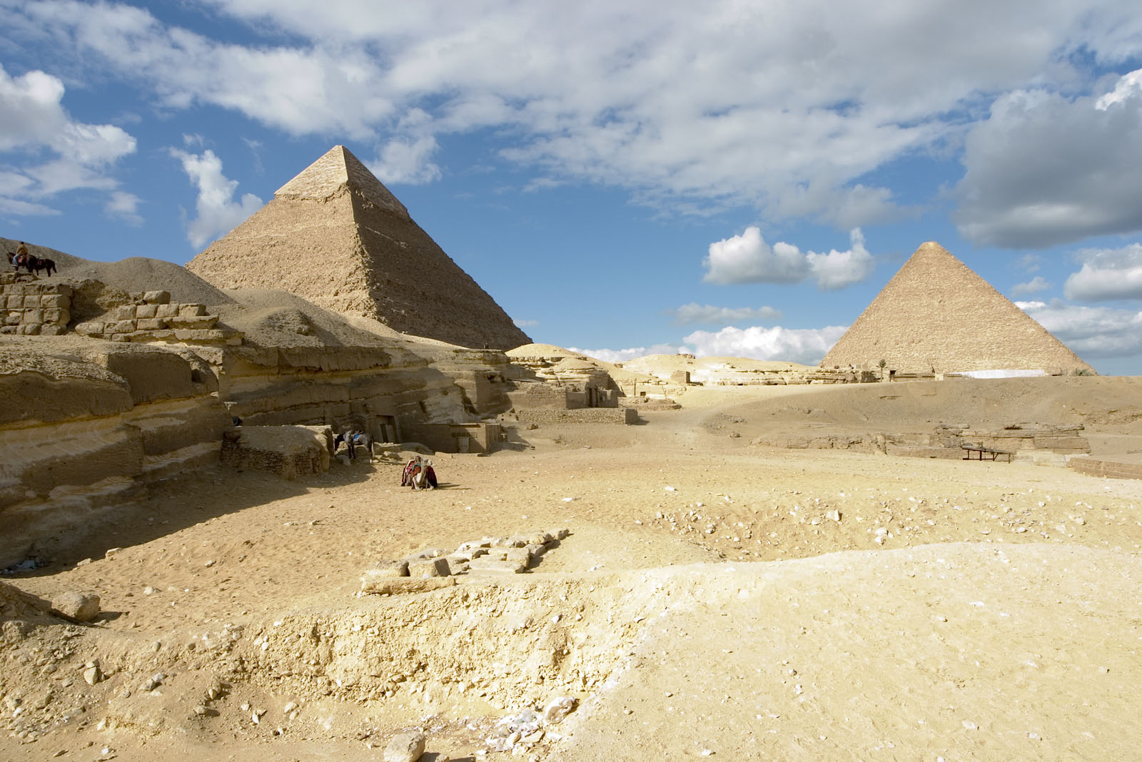 Central Field (Hassan): Site: Giza; View: Khufu pyramid, Khafre pyramid