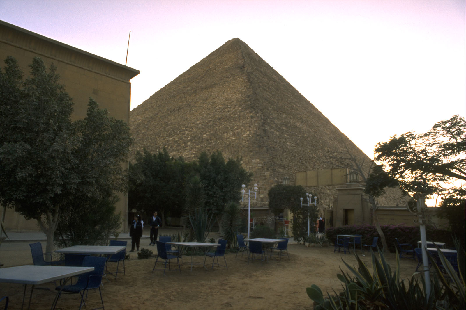People & places: Site: Giza; View: Farouk rest-house, Khufu pyramid