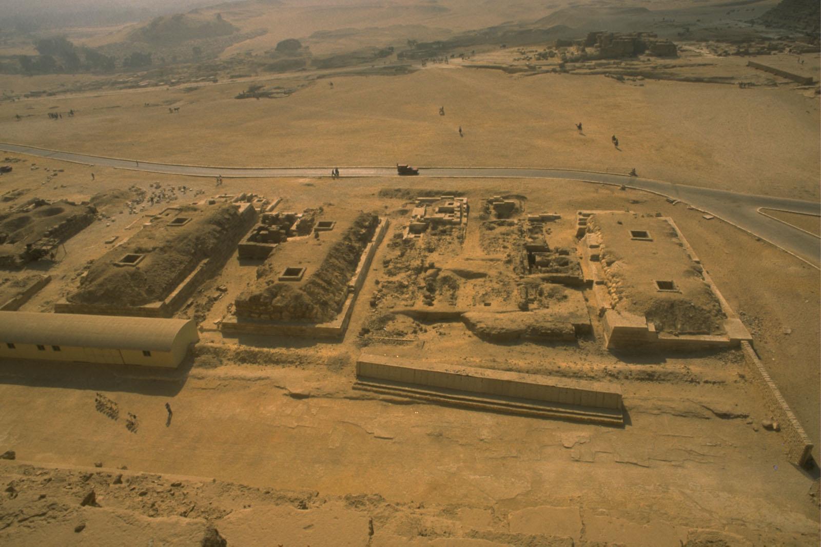 G I-South Cemetery: Site: Giza; View: Mastaba I (G I S), Mastaba III (G II S), Mastaba IV (G III S), Itjef, Khnumnefer, Nunetjer, Niankhhathor [II]