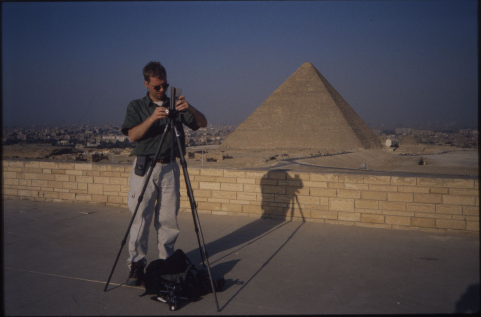 People & places: Site: Giza; View: Harvard Camp, Khufu pyramid