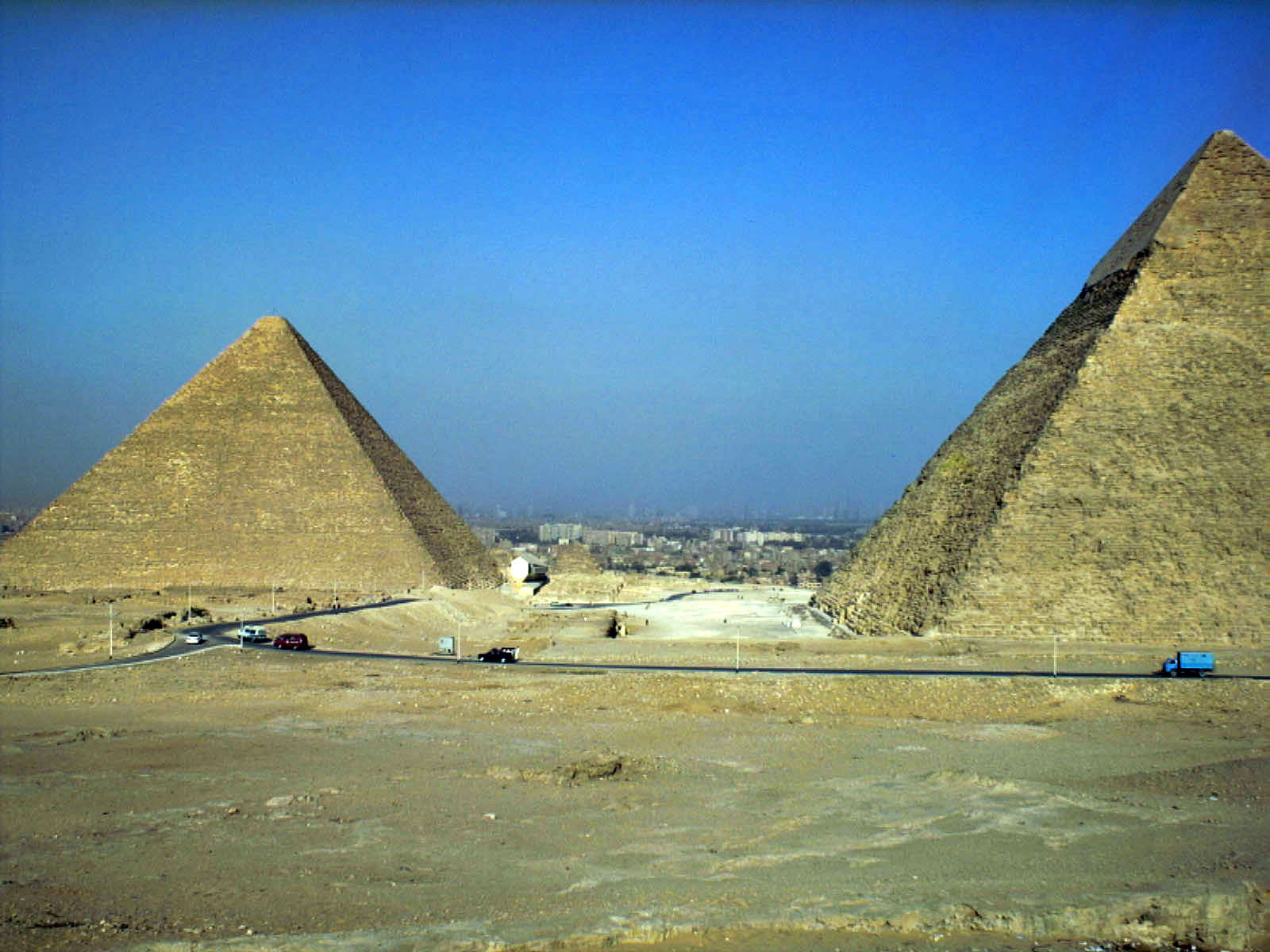 General view/misc.: Site: Giza; View: Khufu pyramid, Khafre pyramid