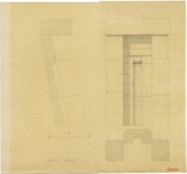 Drawings: G 4430, Elevation, plan, and section of false door