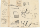 Drawings: Statue fragments from G 5220, G 5223, G 5230, G 5411