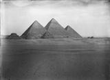 General view: Site: Giza; View: G III-a, G III-b, G III-c, Khufu pyramid, Khafre pyramid, Menkaure pyramid