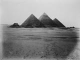 General view: Site: Giza; View: G III-a, G III-b, G III-c, Menkaure pyramid, Khafre pyramid, Khufu pyramid