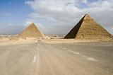 Western Cemetery: Site: Giza; View: Harvard Camp, Khufu pyramid, Khafre pyramid