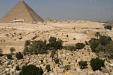 General view/misc.: Site: Giza; View: Sphinx, Khufu pyramid