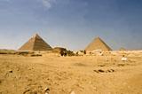 General view: Site: Giza; View: G 8400, Khufu pyramid, Khafre pyramid