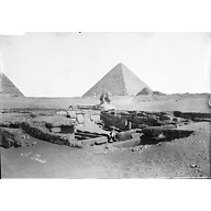 General view: Site: Giza; View: Sphinx; Sphinx Temple; Khafre Valley Temple