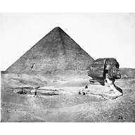 Sphinx/Sphinx temple: Site: Giza; View: Sphinx; Khufu Pyramid