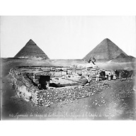 General view: Site: Giza; View: Khafre Valley Temple; Sphinx Temple; Sphinx