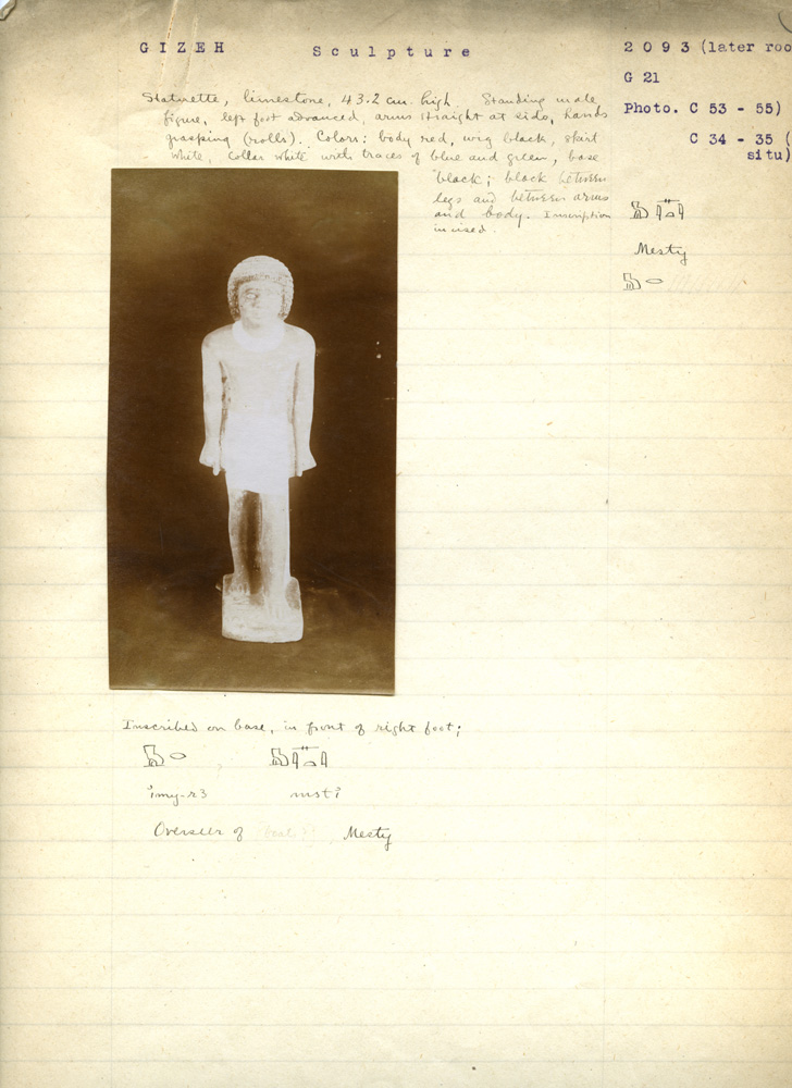Notes: G 3093: Standing statue of Mesty