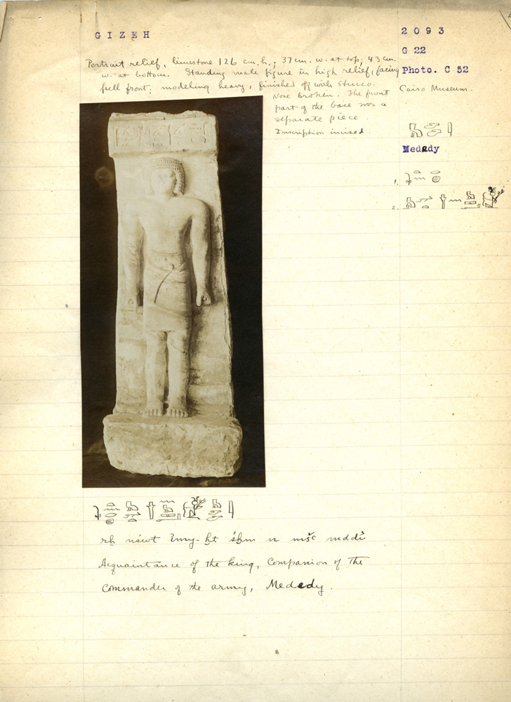 Notes: G 3093: Standing statue of Mededi