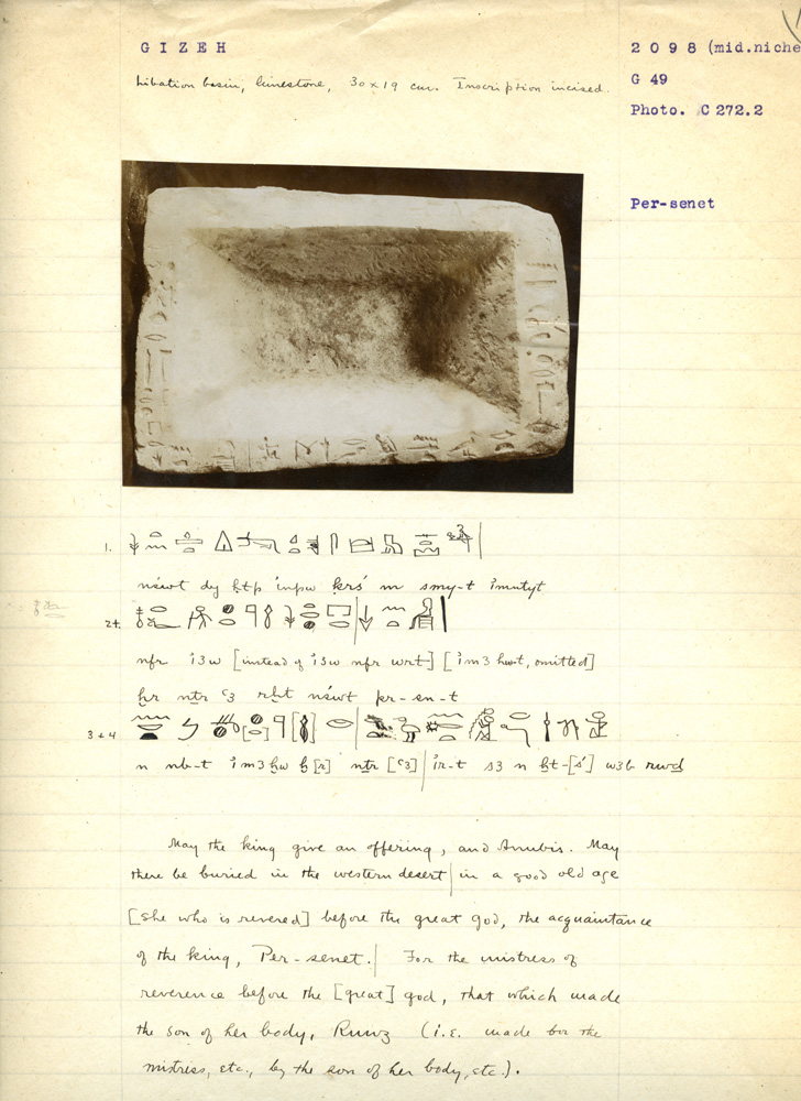 Notes: G 3098: Limestone offering basin of Persenet