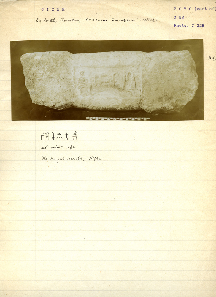 Notes: G 3071: Limestone lintel of Nefer